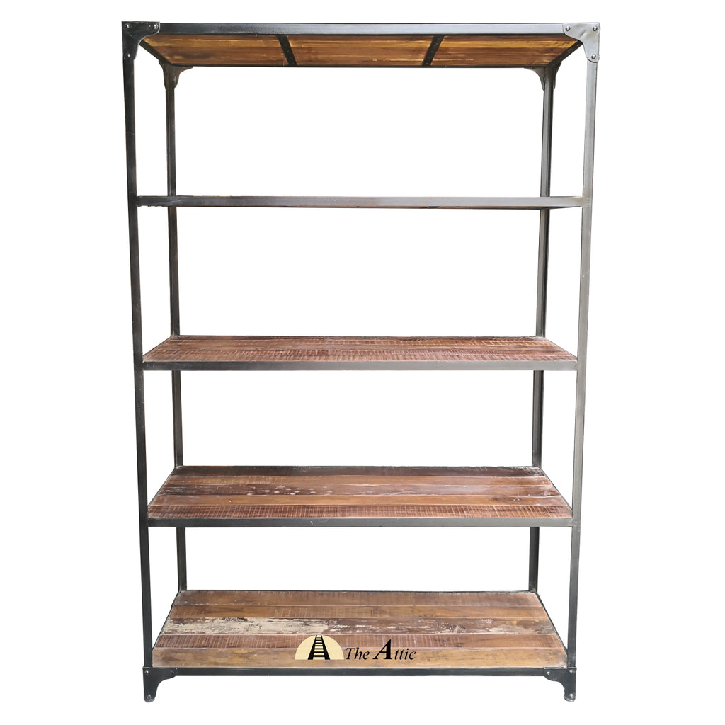 Large Reclaimed Blackburned Wood & Metal Industrial Shelf
