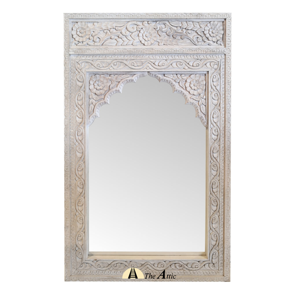 Carved Distressed Rustic White Wooden Wall Mirror with Arched Frame