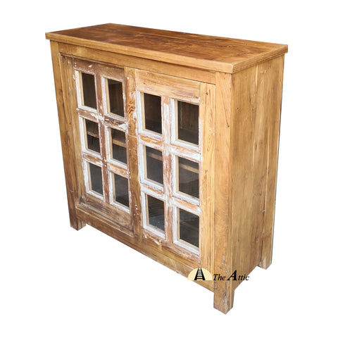 Reclaimed Teak Wood Sliding Door Cabinet with Glass Panes - theattic-dubai.com