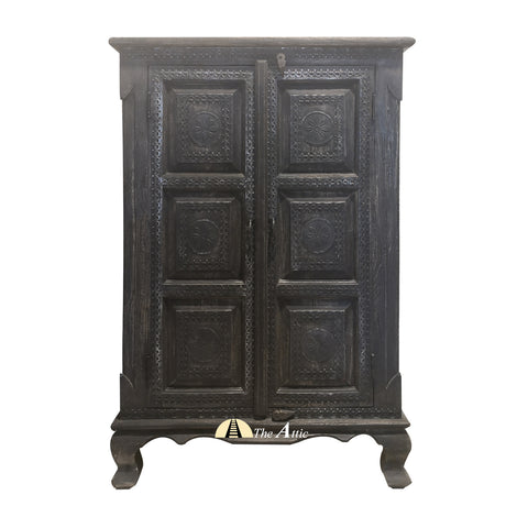 Carved Black 2-Door Small Cabinet Storage The Attic Dubai UAE