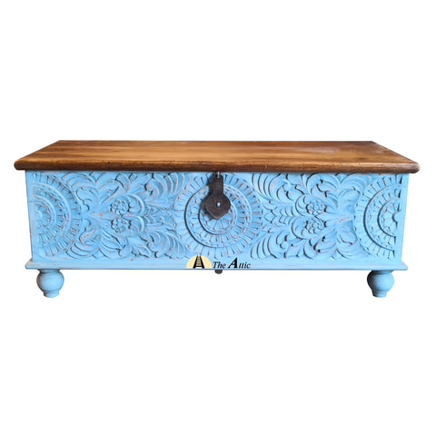 Blue Carved Accent Chest - The Attic Dubai - theattic-dubai.com