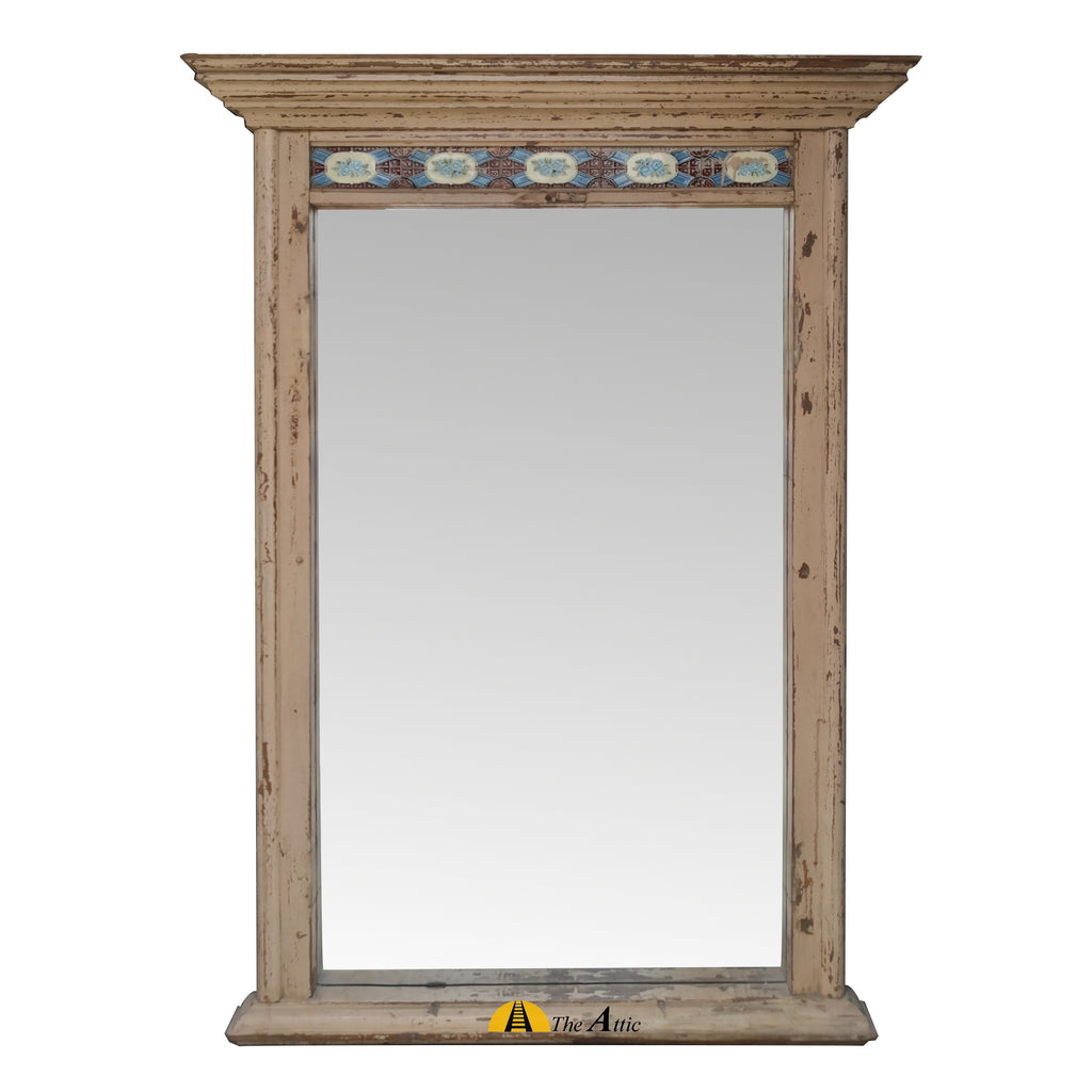 Vintage Large Wall Mirror with Tile Detail - The Attic Dubai