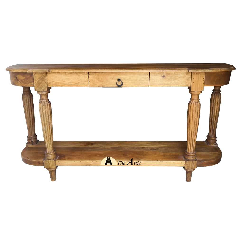 Carved Natural Brown Console with Drawer and Shelf