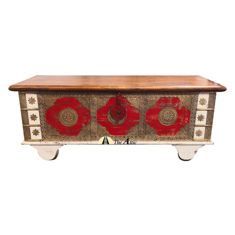 Red & Brown Accent Chest with Brass Fittings - theattic-dubai.com