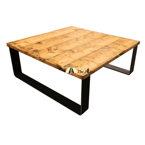 Square Reclaimed Pine Flat Bar Coffee Table