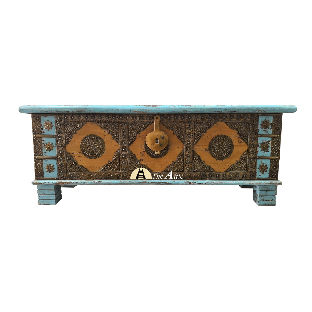 Blue Accent Chest with Brass Fittings