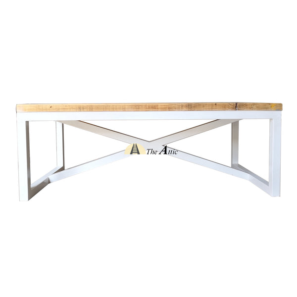 Industrial coffee table with White X-shaped Base