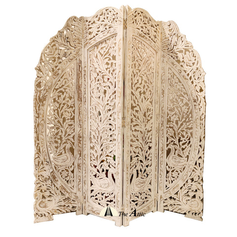 Solid mango wood, Four Panels, Pierced Floral Motif Four Section Privacy Room Screen, graduated scalloped design top, hinged and block footed