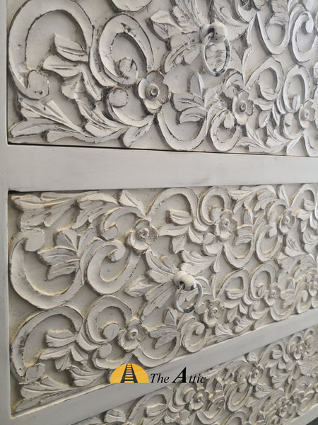 Carved Distressed White Chest of Drawers