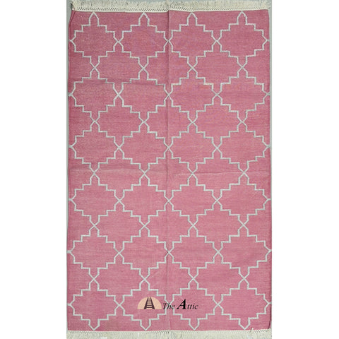 Rose Pink and Silver Moroccan Star Flatweave Cotton Rug