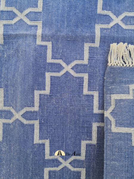 Moroccan Star Flatweave Cotton Dhurrie Rug, Cornflower Blue and Silver, 6x9 ft - The Attic Dubai