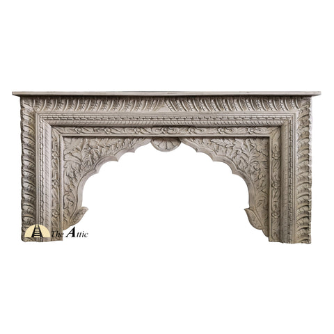 White Arch Carved Console Distressed Shabby Chic Boho Hall Table