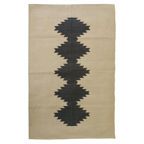 Beige & Black Contemporary Tribal Cotton Rug, 4x6 ft