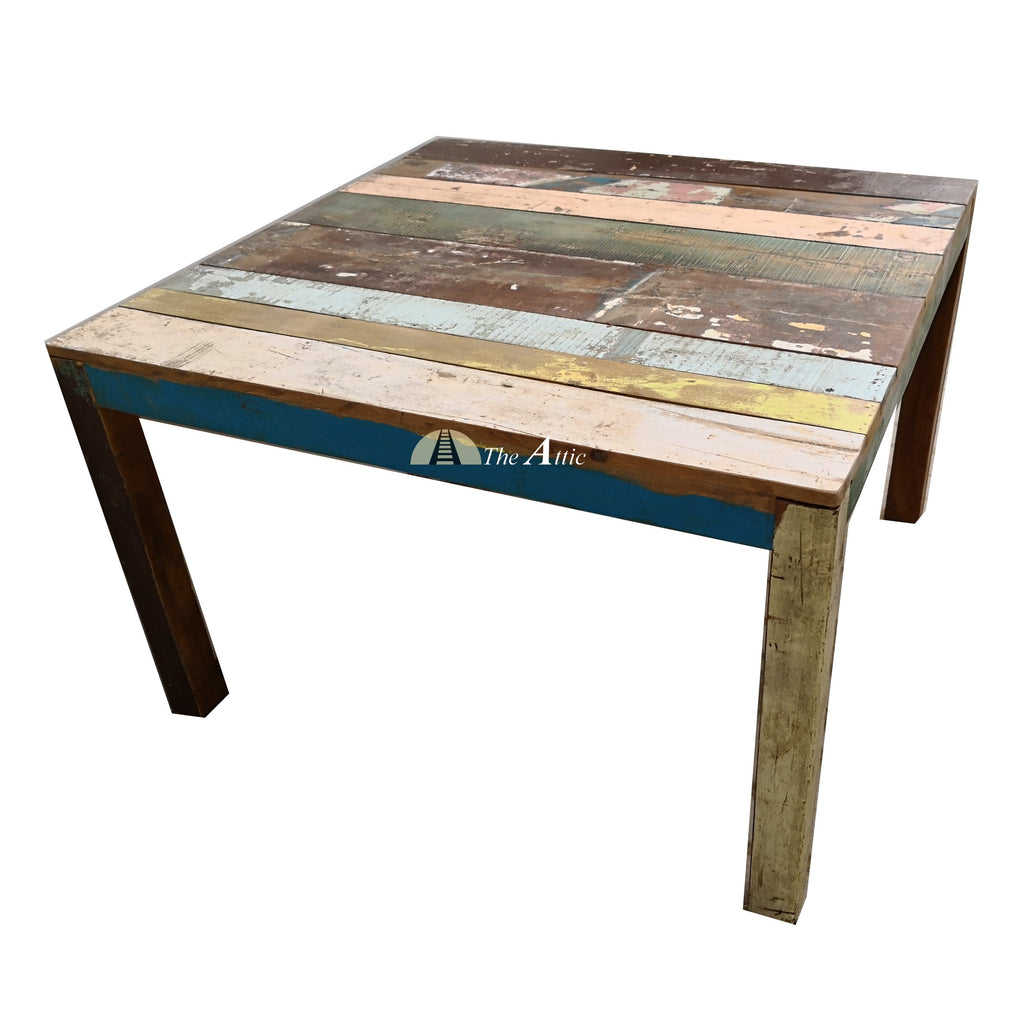 Reclaimed Wood Square 4-seater Dining Table