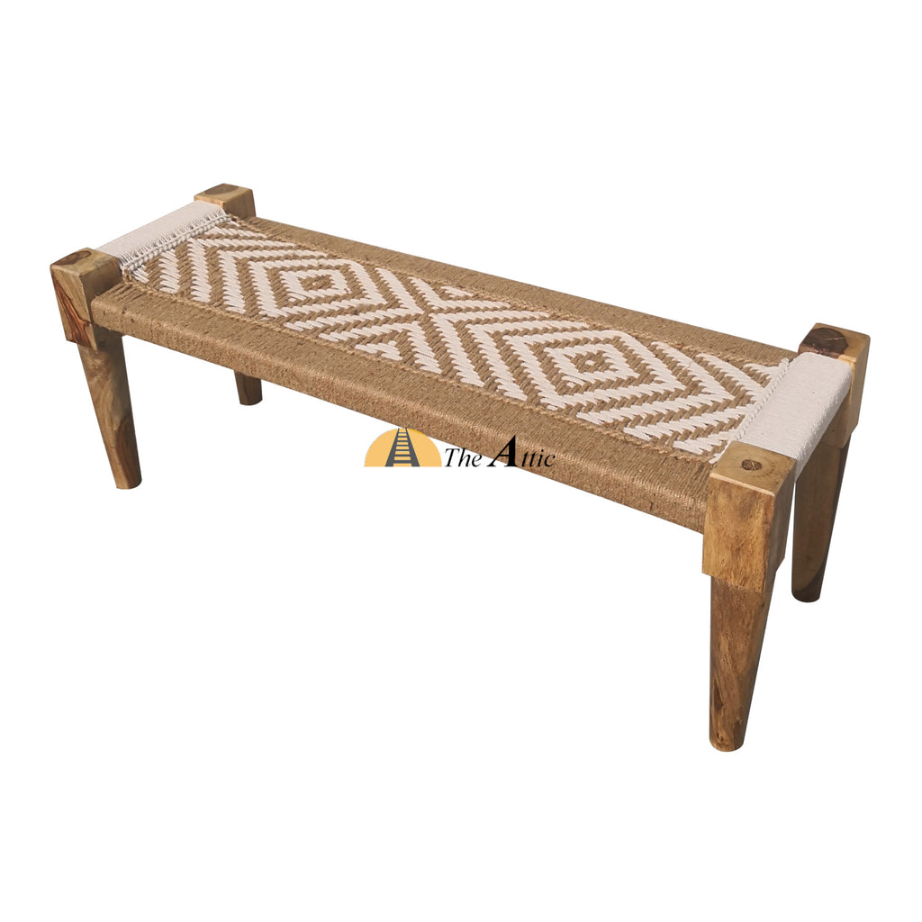 Hand-woven Charpai Bench, Dark Honey & White
