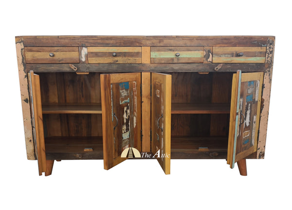 Reclaimed Wood 4 Door 4 Drawer Mid-Century Sideboard