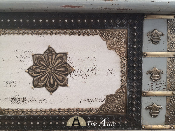 White & Grey Accent Chest with Brass Fittings - theattic-dubai.com