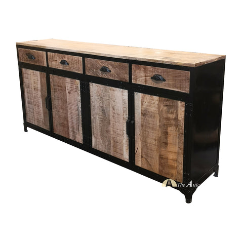 Industrial Black and Brown Iron 4 Door, 4 Drawer Large Sideboard Cabinet - theatticdubai.com