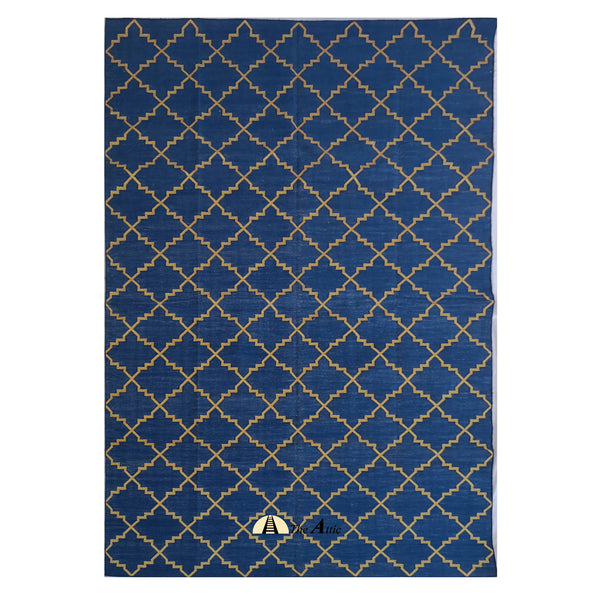 Moroccan Star Flatweave Cotton Dhurrie Rug, Blue and Gold, 6x9 ft - TheAttic-Dubai.com