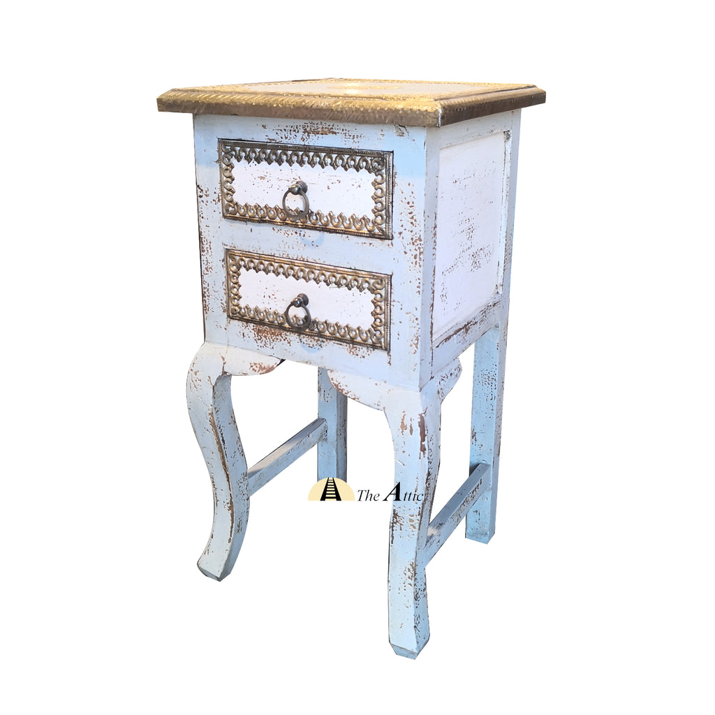 Brass Accent White & Grey Side Table - theattic-dubai.com