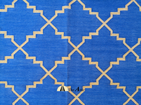 Moroccan Star Flatweave Cotton Dhurrie Rug, Blue and Gold, 6x9 ft - The Attic Dubai