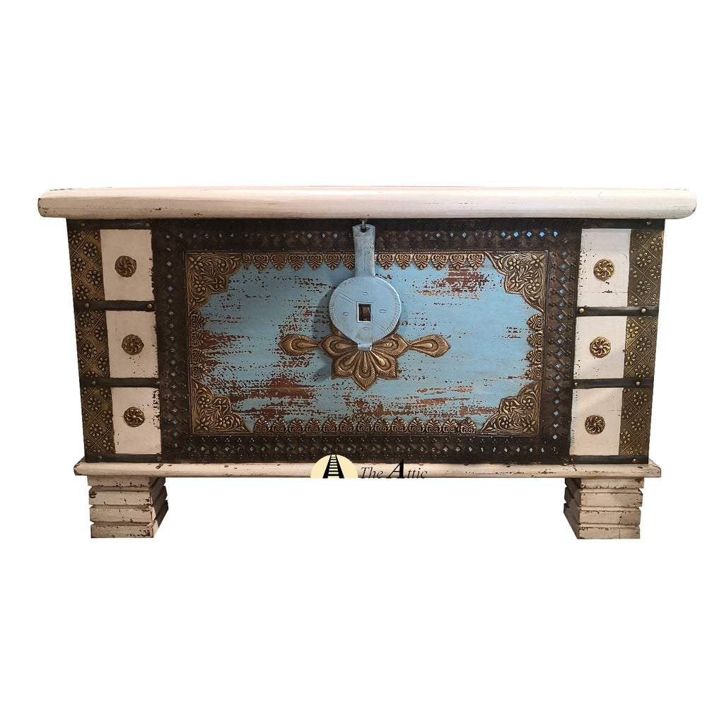 Blue & White Accent Chest with Brass Fittings