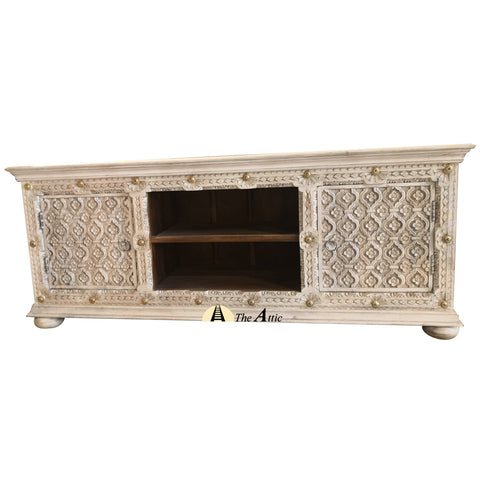 Carved TV Unit with Brass Rivets, 160cm