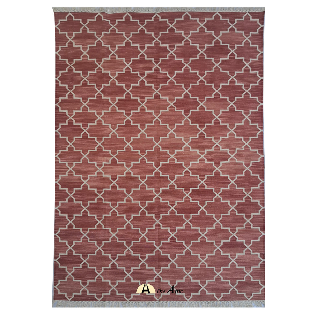 Moroccan Star Flatweave Cotton Rug, Tie & Dye Terracota and White, 5x8 ft - TheAttic-Dubai.com