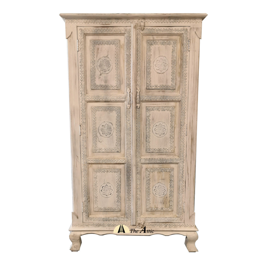 White Cabinet with Metal Embossed Accents - The Attic Dubai