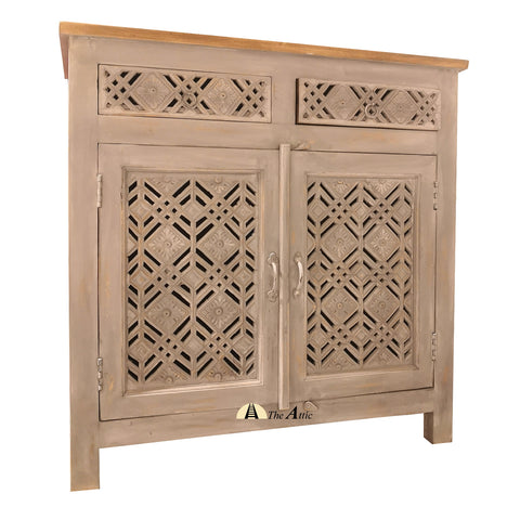 Grey Carved Jali 2-Doors 2-Drawers Side Unit - The Attic Dubai