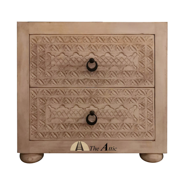 Carved 2-Drawer Side Table, Nightstand - The Attic Dubai