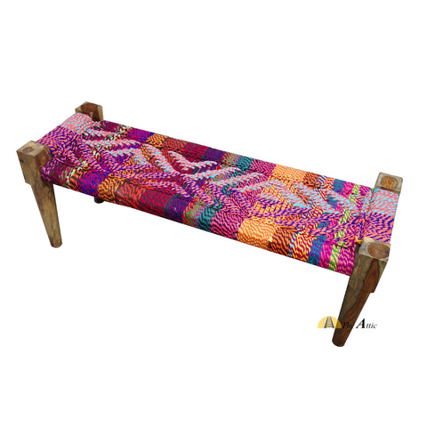 Hand-woven Charpai Bench, Multi-colour - The Attic Dubai