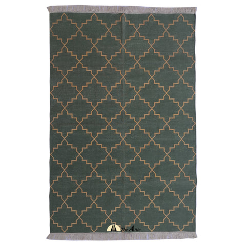 Moroccan Star Flatweave Cotton Rug, Olive green and Gold, 4x6 ft
