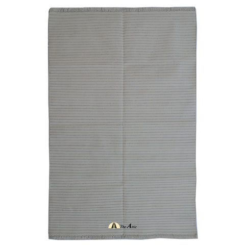 Ivory and Silver Striped Flatweave Cotton Rug, 4x6 ft
