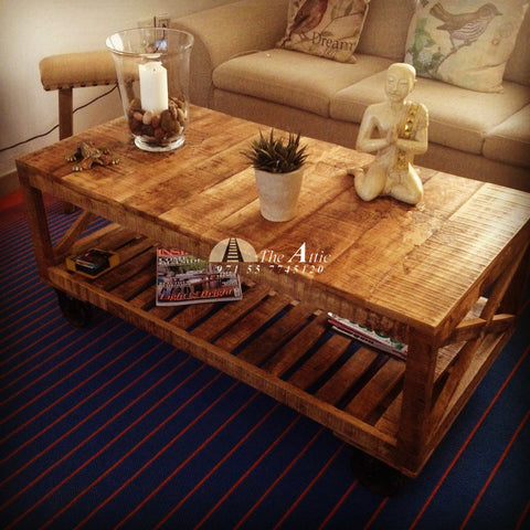 Industrial Mango Wood Coffee Table with Shelf and Wheels