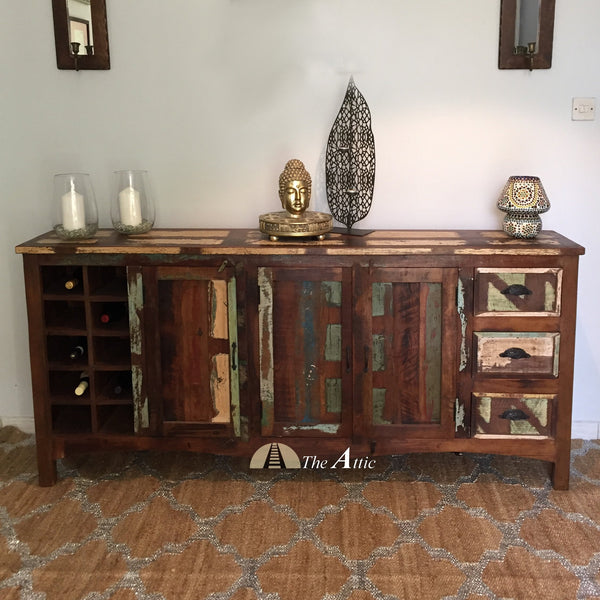 Reclaimed Wood Sideboard with Wine Rack