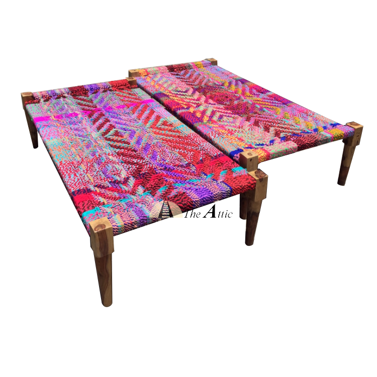 Hand-woven Full Size Charpai Day Bed, Multi-colour