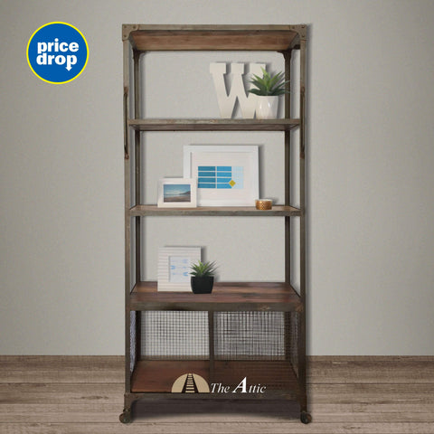 Industrial Reclaimed Metal Bookshelf Wire Mesh Shelf