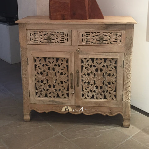 Carved 2-Door 2-Drawer Side Unit with Sandblast Finish