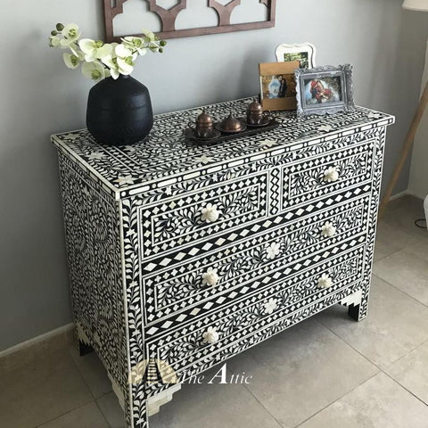 Black & White Bone Inlay Chest of Drawers