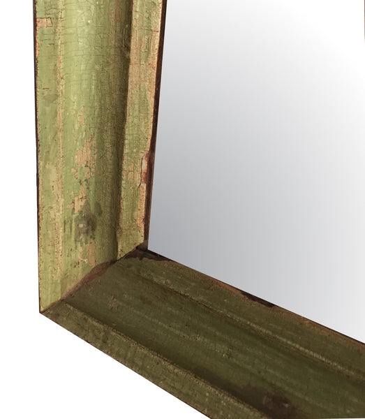 Small Vintage Wall Mirror, Olive Green