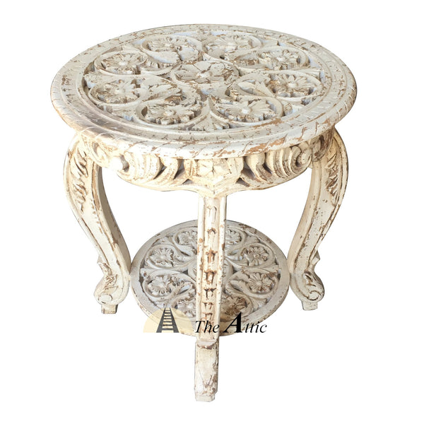 White Round Carved Side Table