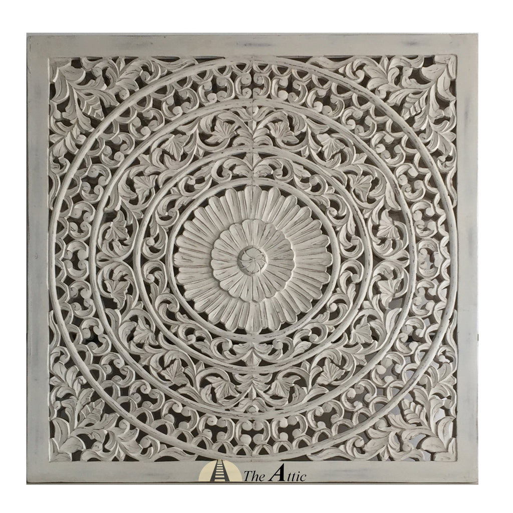Carved Ornate Wall Panel, White, 120x120cm