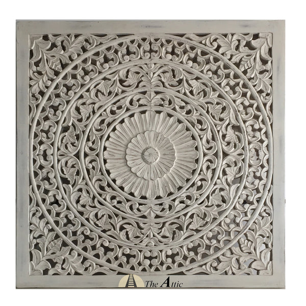 Carved Ornate Wall Panel White 120x120cm The Attic Dubai