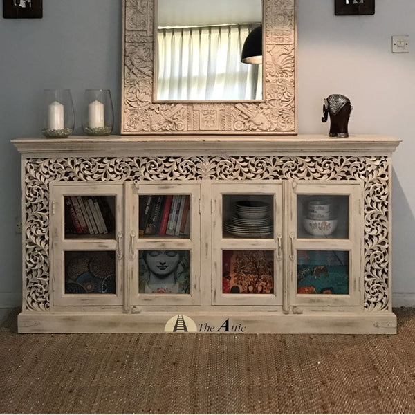 4 Door Sideboard with Carved Frame and Glass Panes