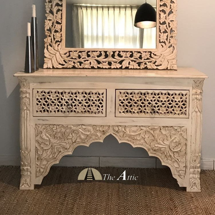 Carved Console with 2 Drawers