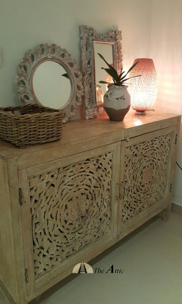 Carved 2-Door Buffet with Sandblast Finish