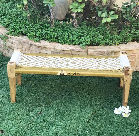 White and gold charpai charpoy hand-woven bench Indian bohemian decor contemporary chic