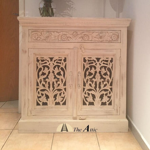 Carved 2Door 1Drawer Side Unit