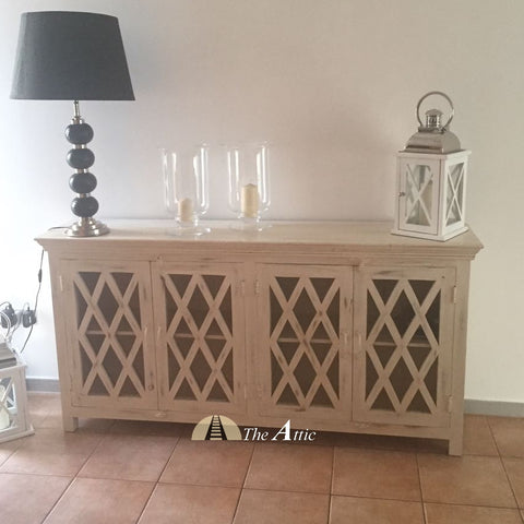 Diamond Pattern Glass Pane 4-door Sideboard